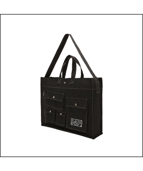 [I4P] 03 Cargo Denim Bag Black