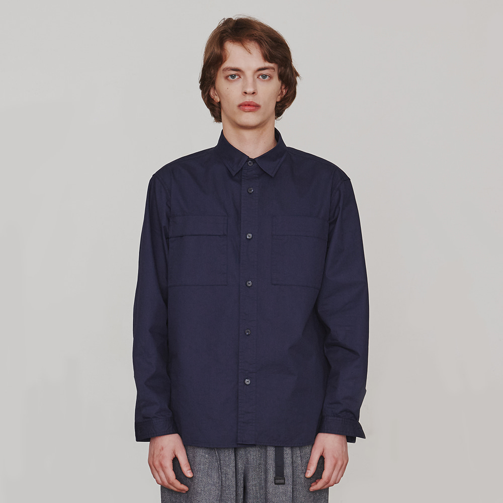 [에스파이] Two-Sided Pocket Shirt (Navy)