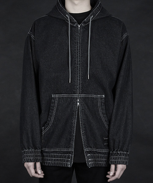 [디베르그] Damaged Denim Hoodie Jacket [Oversized]