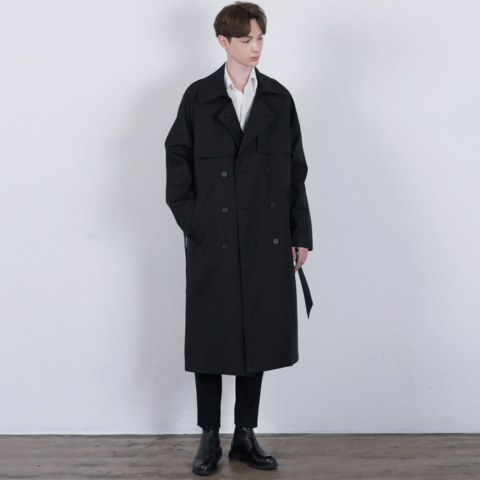 [단하우스] BLACK Oversized Raglan Trench Coat