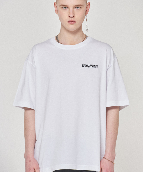 [아임낫어휴먼비잉] Embroidery Front Tee - WHITE