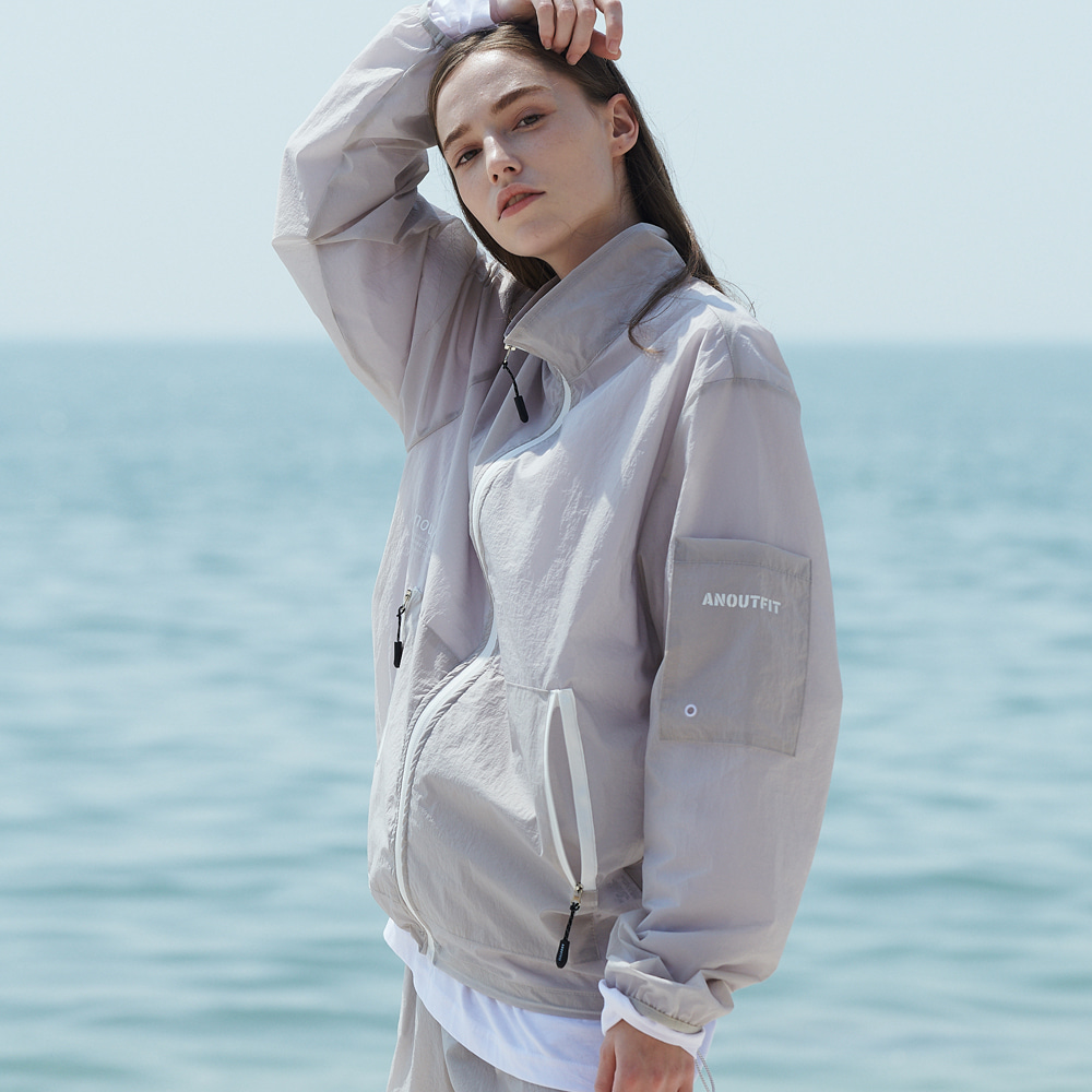 [언아웃핏]UNISEX MONO WINDBREAKER JACKET GREY