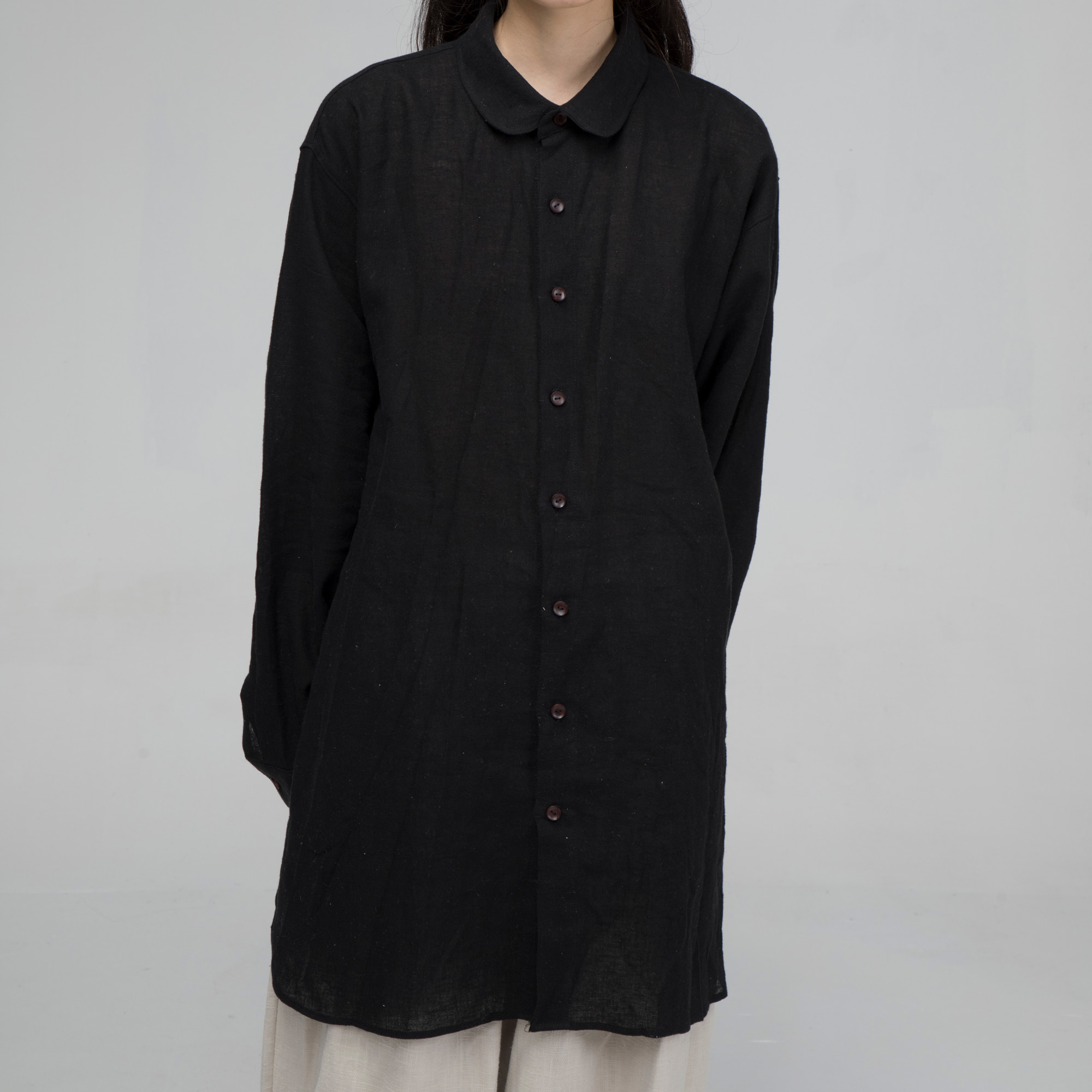 [말렌] unisex long shirt black
