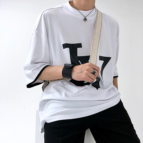 [4BLESS] Big Logo High Neck Over T-shirts White
