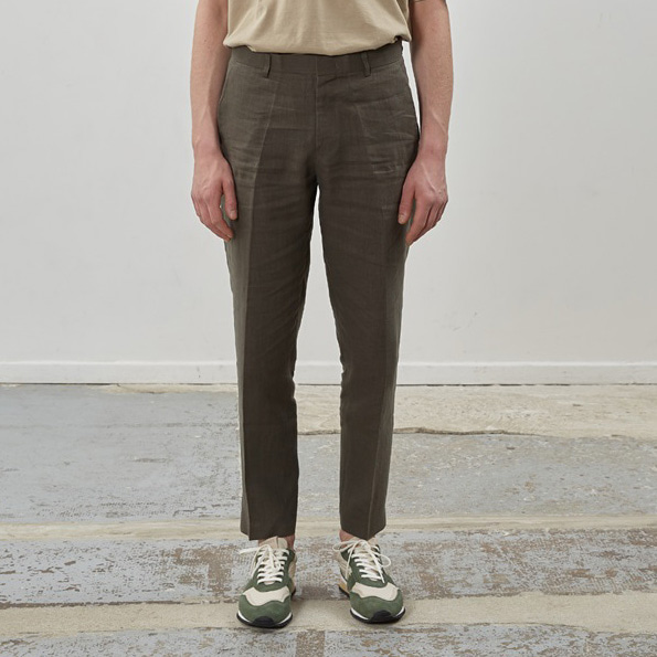 [핸스] Ete Linen Set-up Trouser(Stately Khaki)