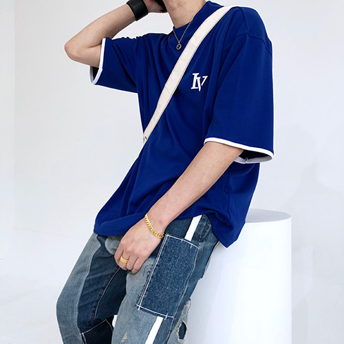 [4BLESS] Nevermind High Neck Over T-shirts Blue