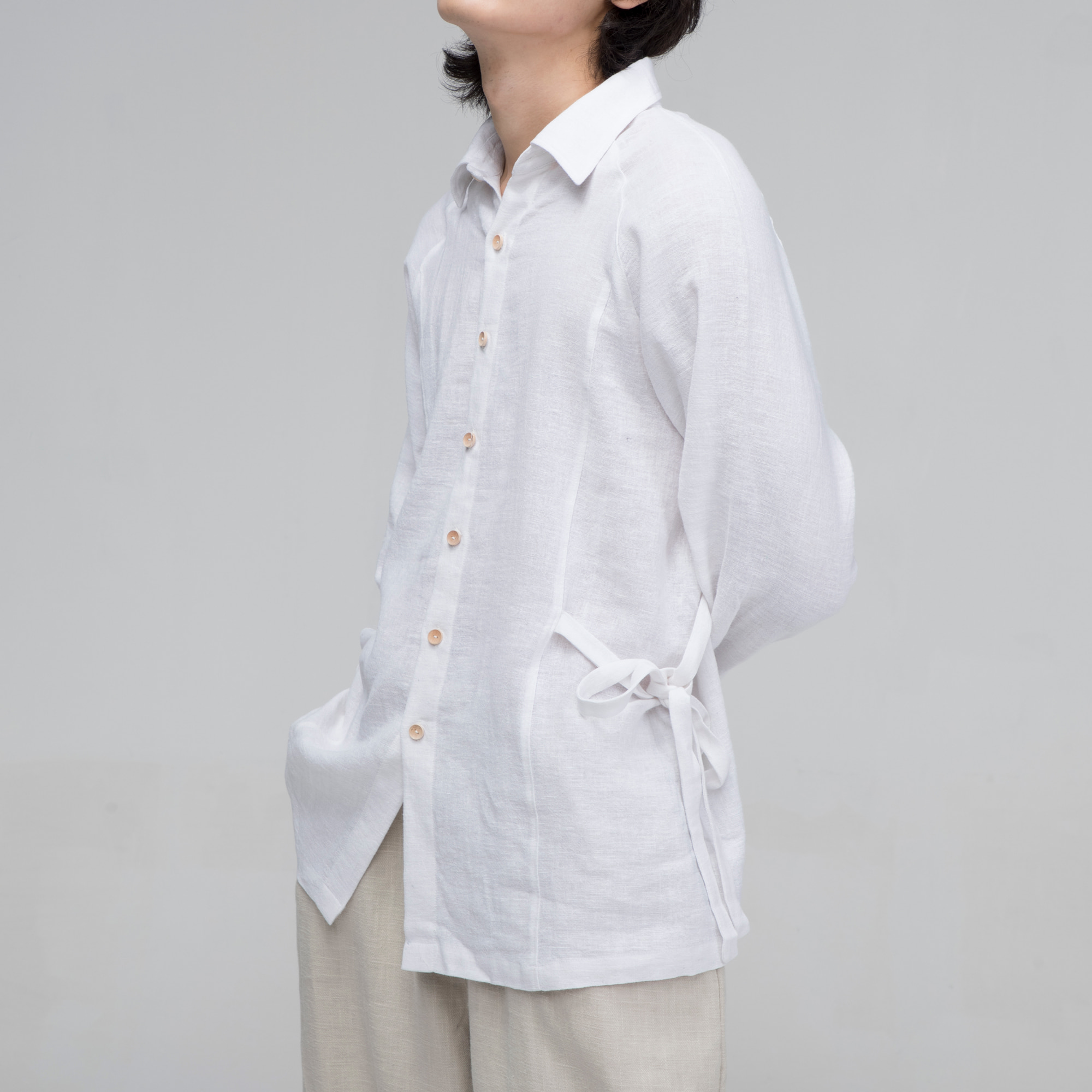 [말렌] unisex side ribbon shirt white