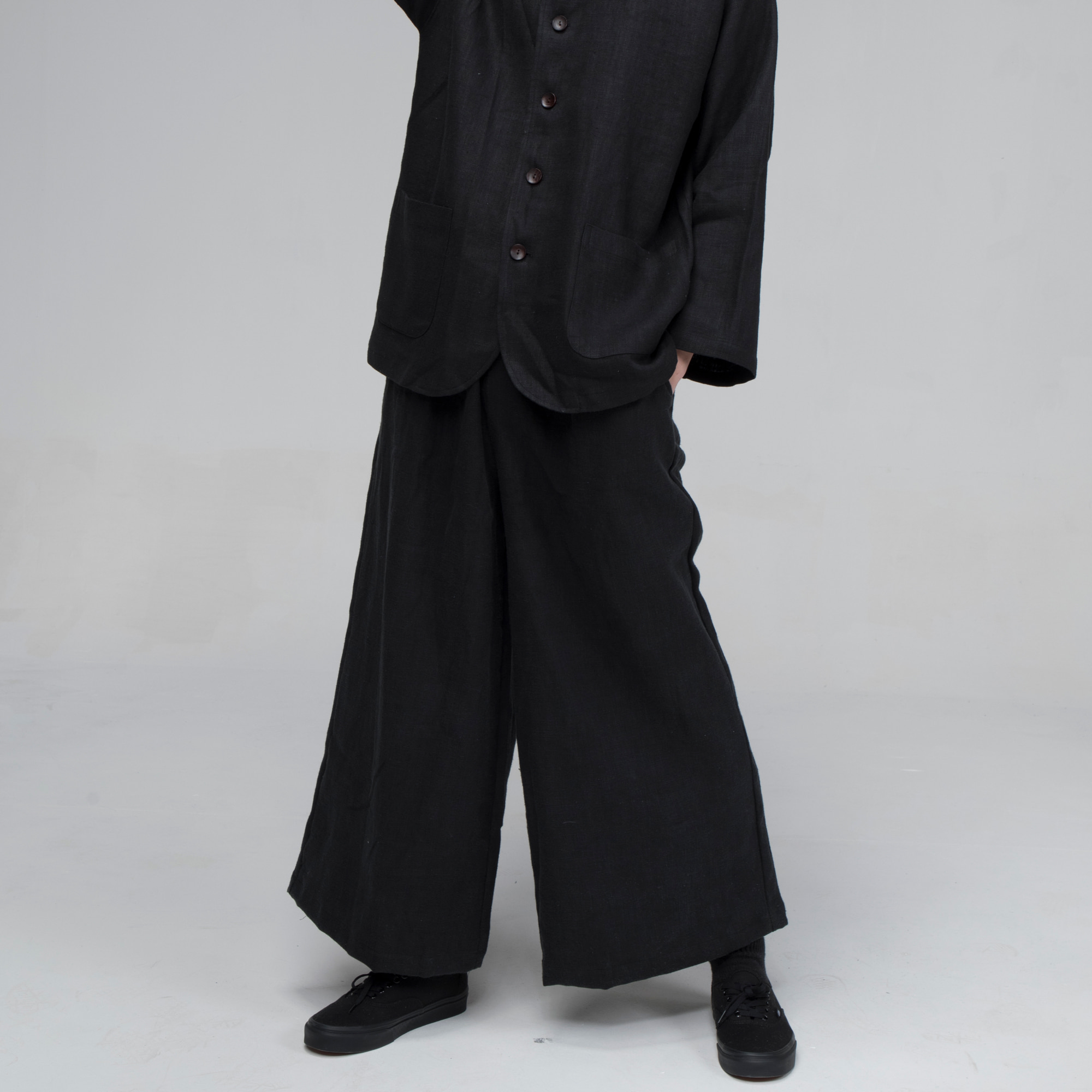 [말렌] unisex banding wide pants black