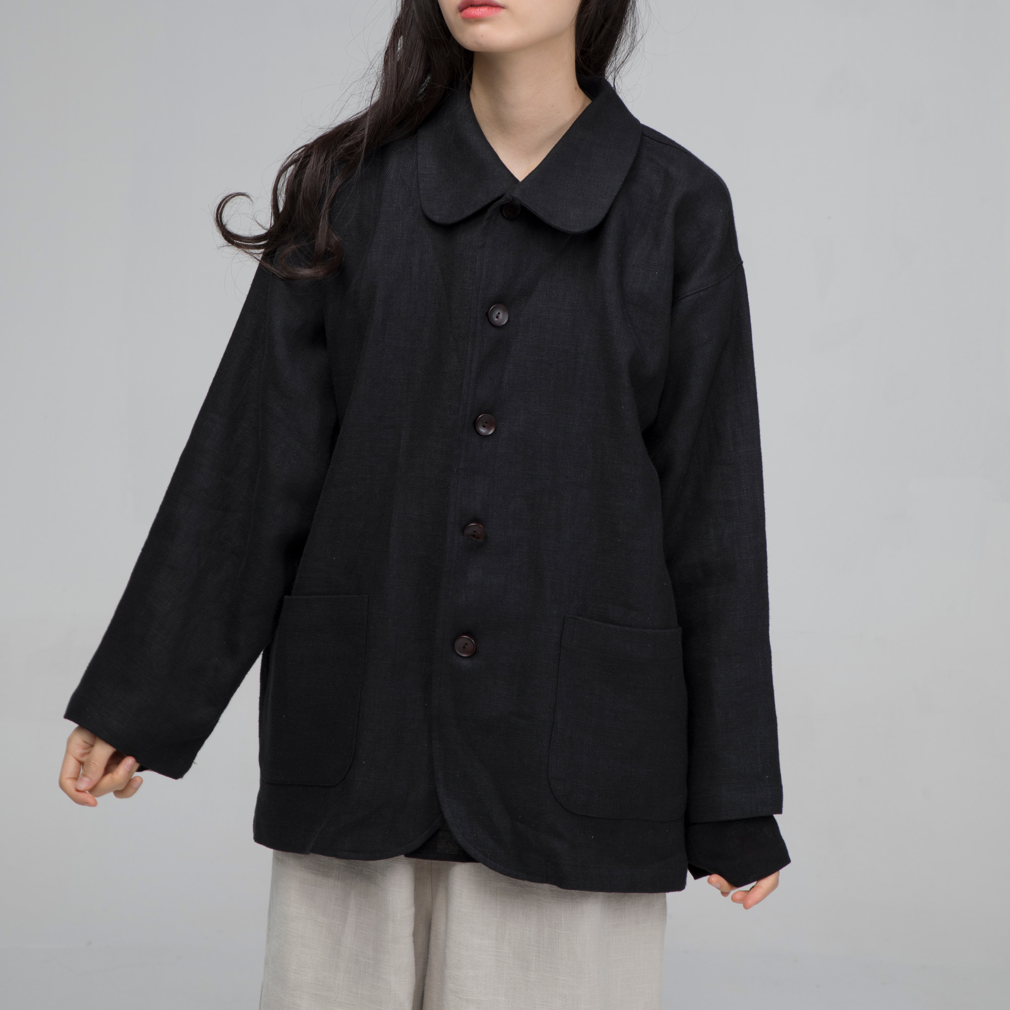 [말렌] unisex cross kara jacket black