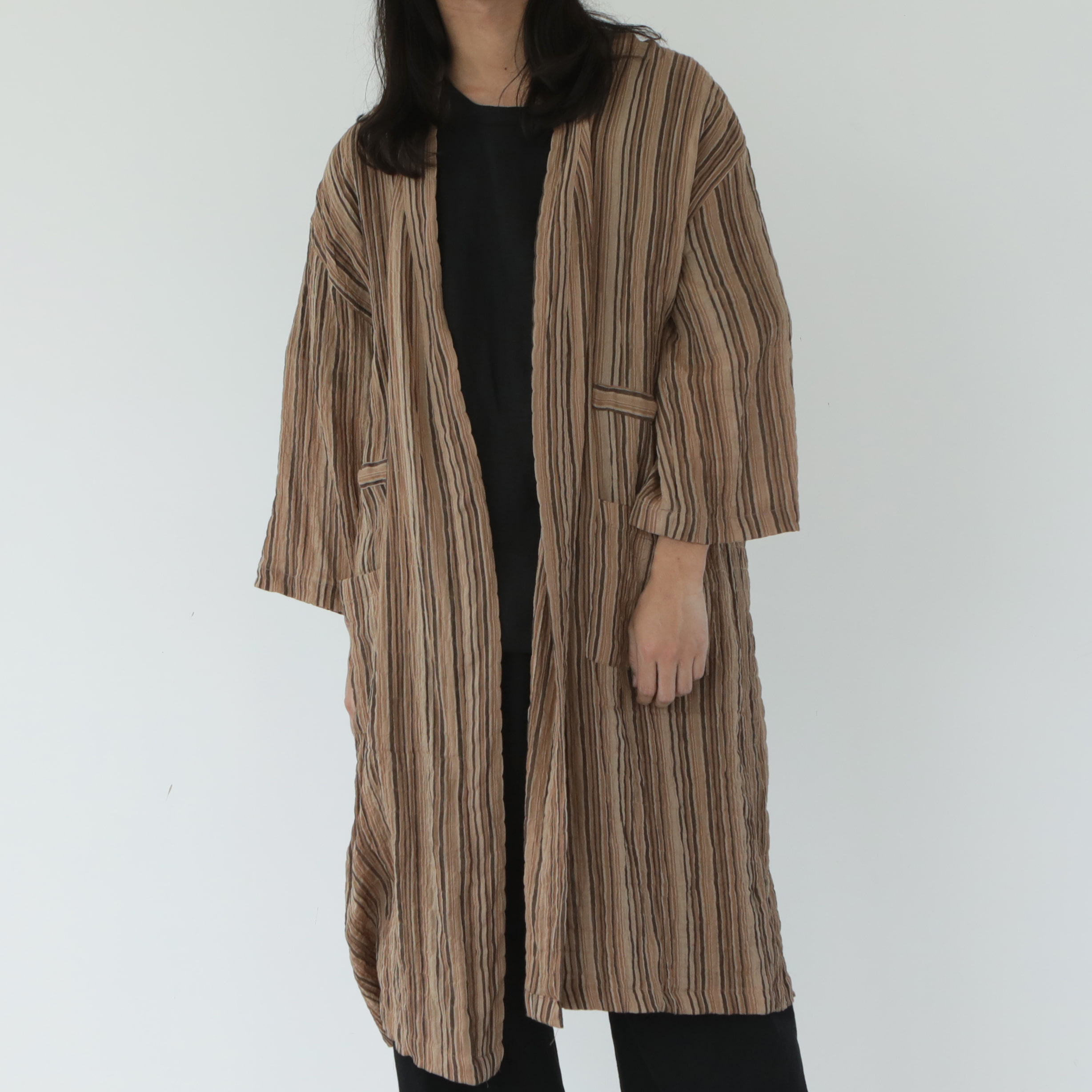 [말렌] unisex vintage robe brown
