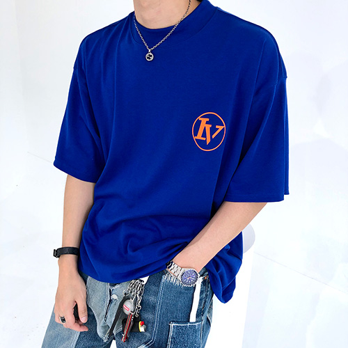 [4BLESS] Circle High Neck Over T-shirts Blue