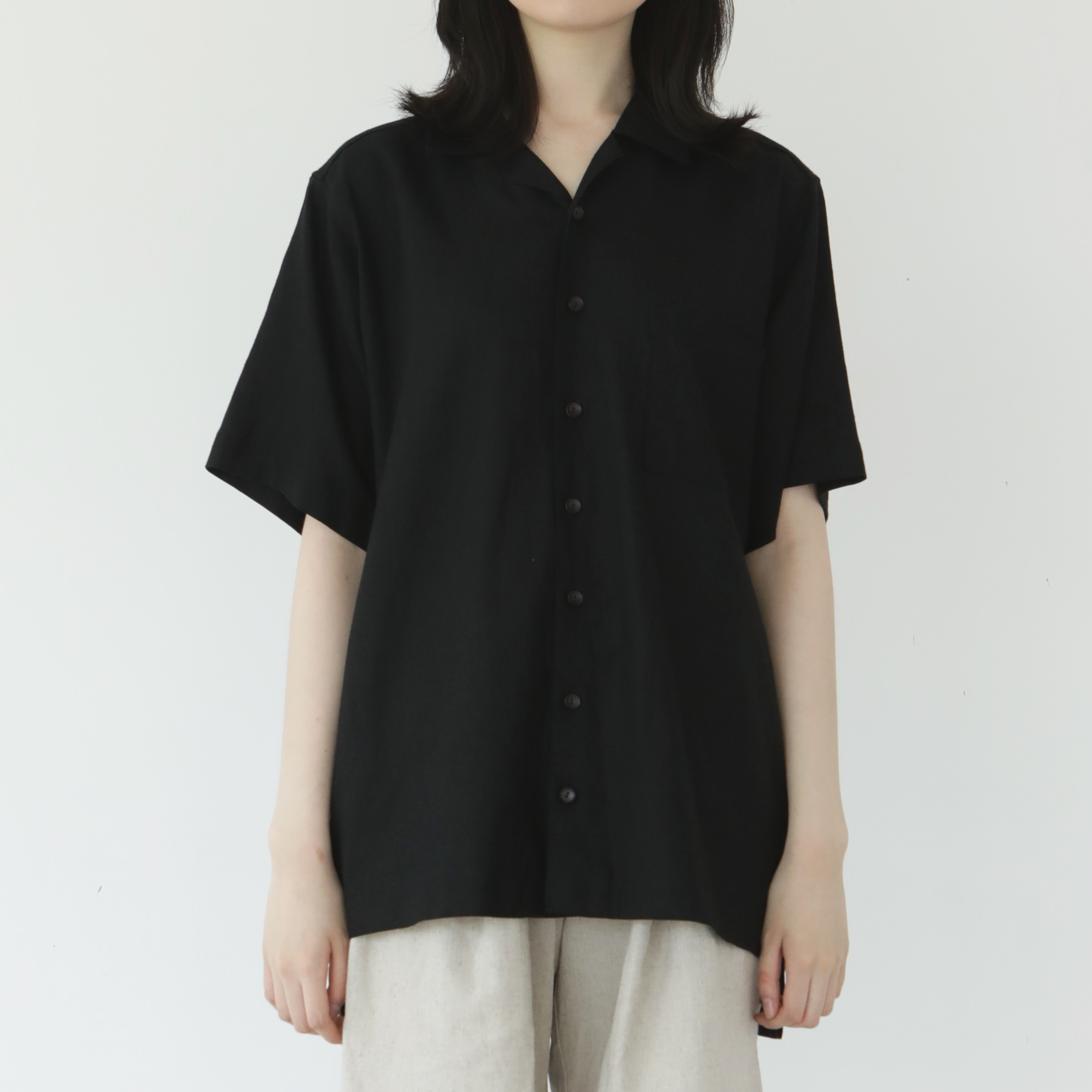 [말렌] unisex open shirts black