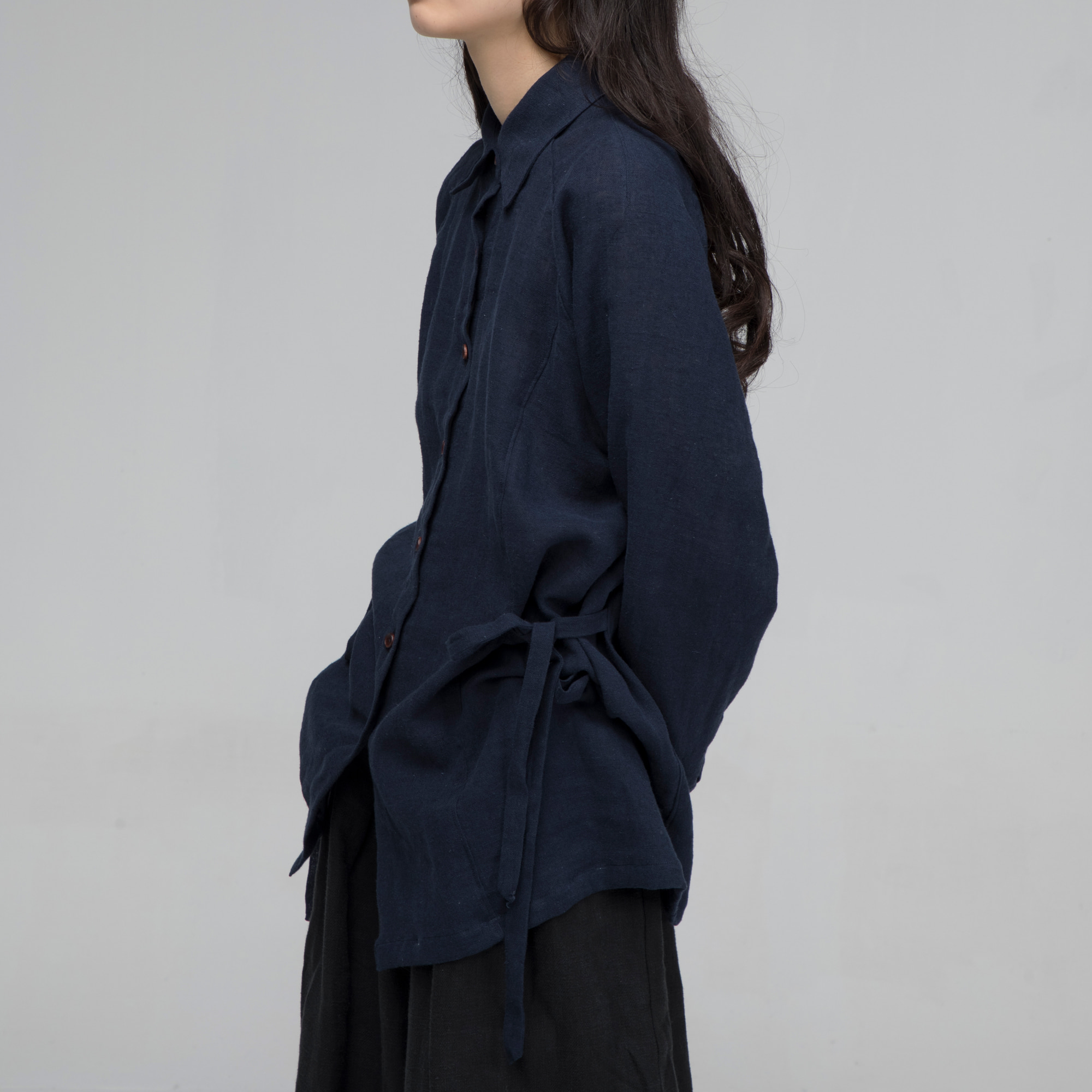 [말렌] unisex side ribbon shirt navy