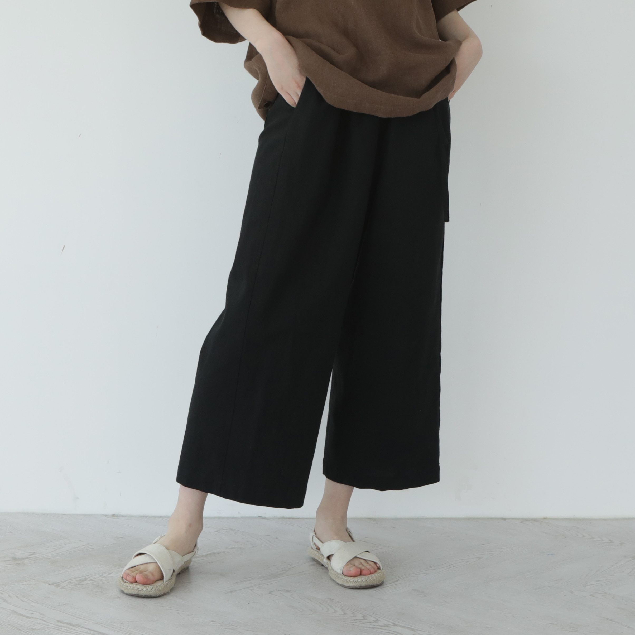 [말렌] unisex straight pants black