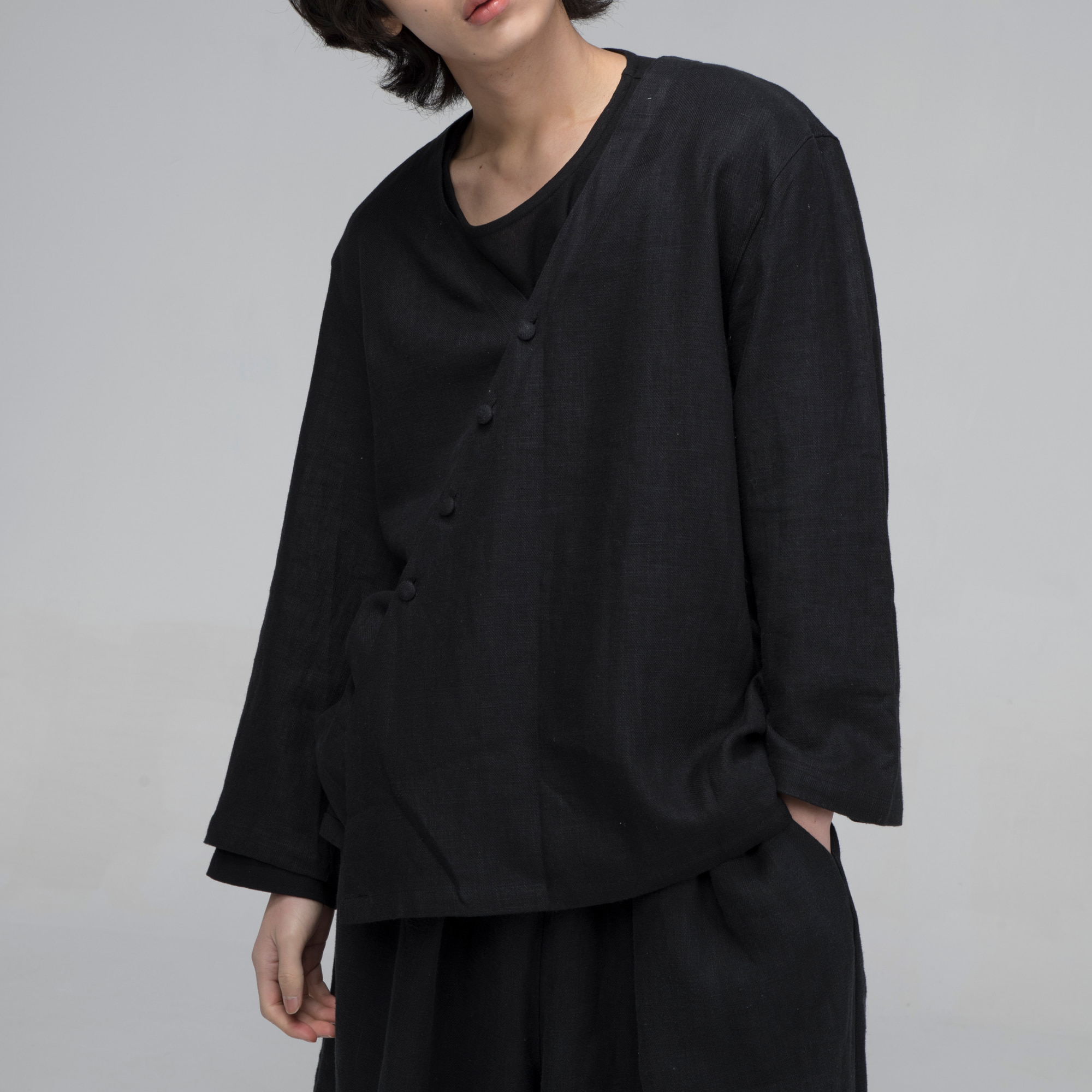 [말렌] unisex yukata jacket black
