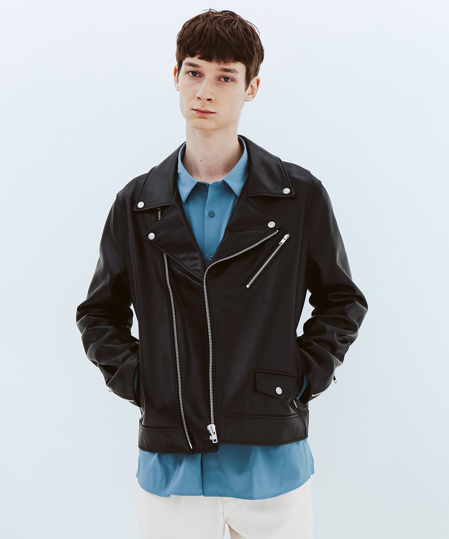 [스페로네] LAMB SKIN SNAP RIDER JACKET