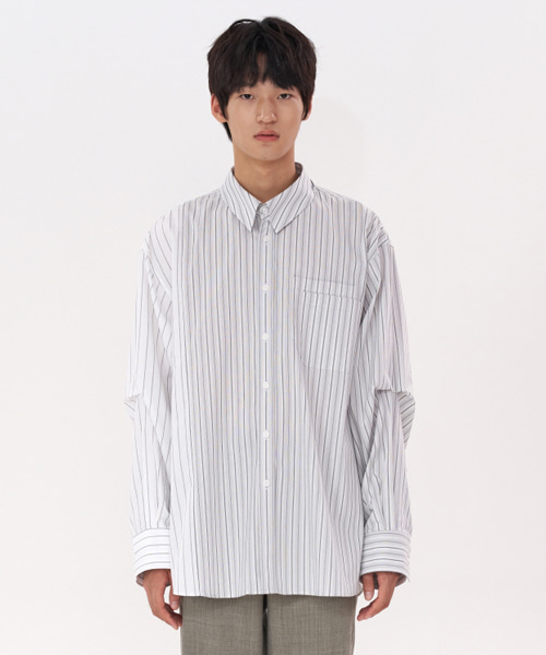 [에스티유] Overfit divided stripe shirt grey white