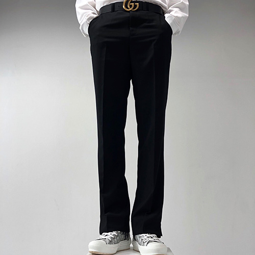 [4BLESS] Semi Wide Slacks Black