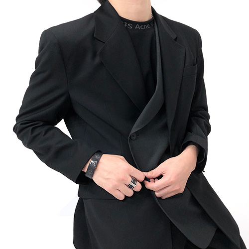 [4BLESS] Layered Blazer Black / Charcoal