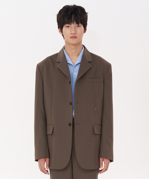 [에스티유] 3 Button overfit hook blazer brown