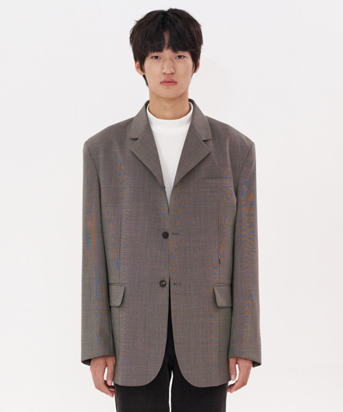 [에스티유] 3 Button overfit hook check blazer grey-brown