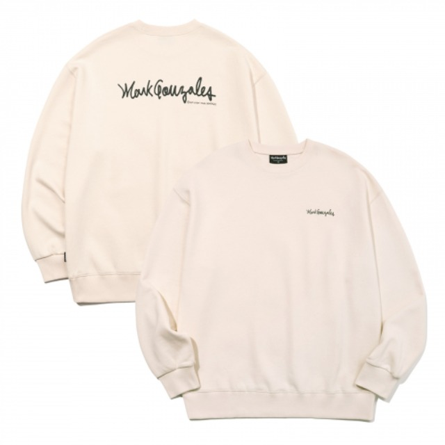 [마크곤잘레스] M/G SMALL SIGN LOGO CREWNECK IVORY -오프라인
