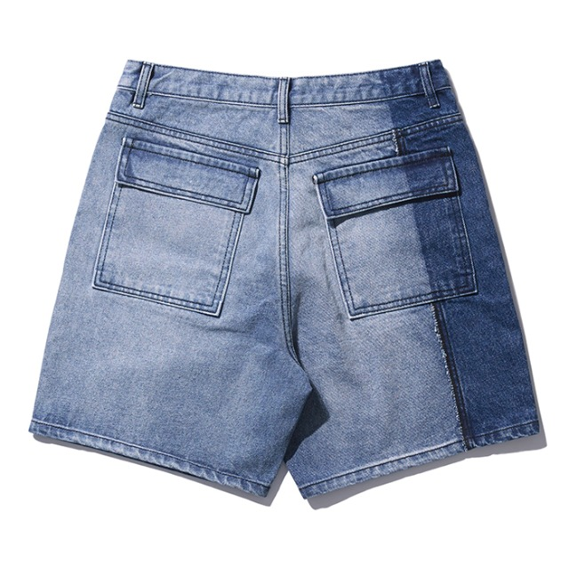 [노매뉴얼] PANELD DENIM SHORTS - BLUE