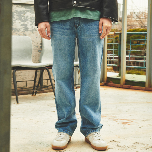 [언아웃핏]UNISEX WIDE FIT DENIM PANTS BLUE