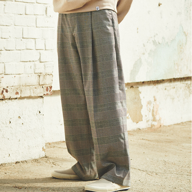 [언아웃핏]UNISEX WIDE CHECK VOLUME SLACKS GREY