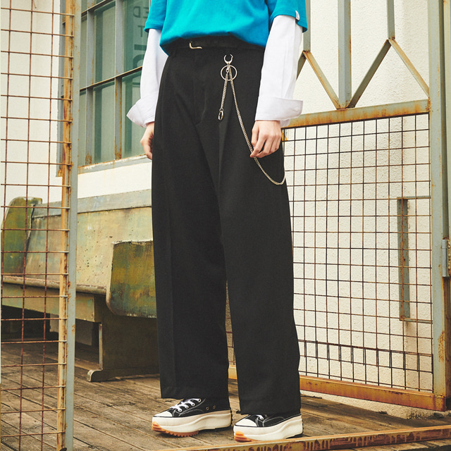 [언아웃핏]UNISEX WIDE VOLUME SLACKS BLACK
