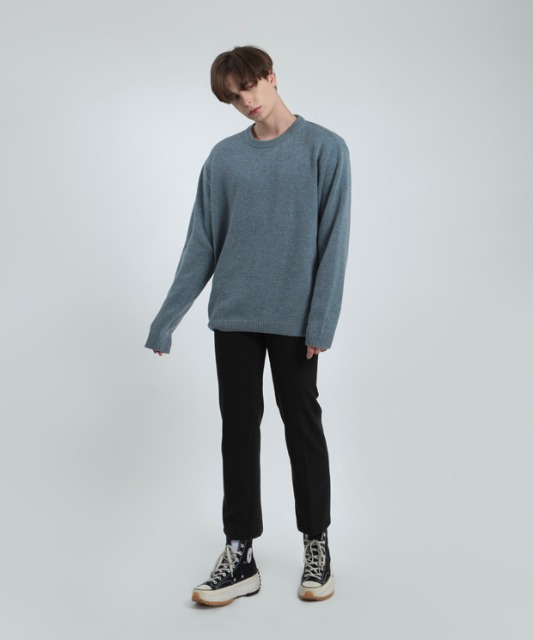 [우니베르소]SQAURE LOGO OVER WOOL KNIT-BLUE