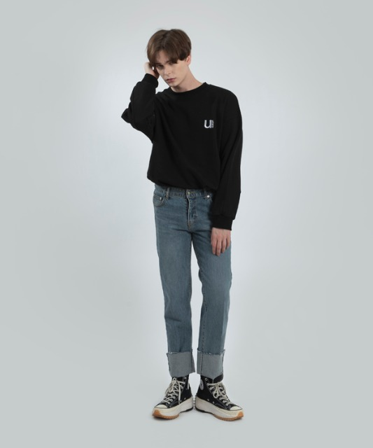 [우니베르소]U LOGO COTTON CREWNECK-BLACK