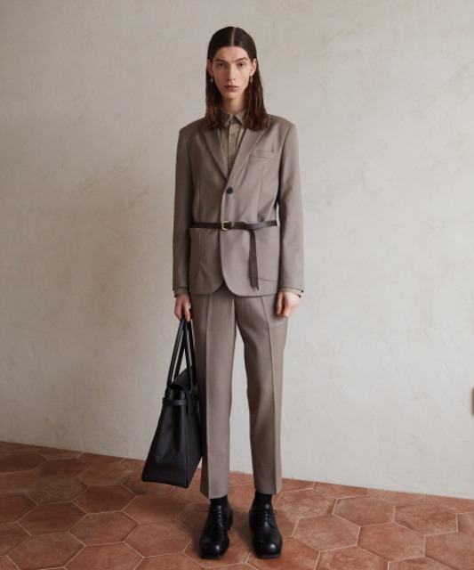 [4/16 예약배송][핸스] Wool Gabardine Set-up Trouser (Dusty Beige)