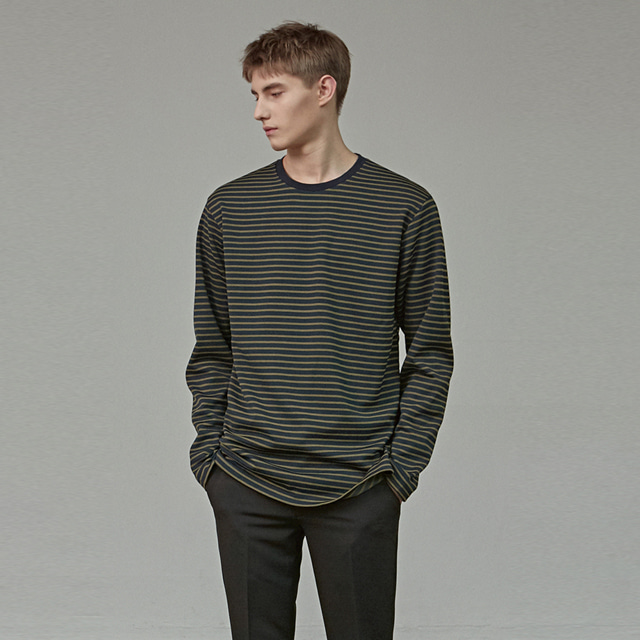 [에이글로우] STANDARD STRIPE LONG SLEEVE_OLIVE