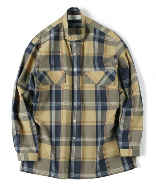 [셔터] CHECKED BAND COLLAR SHIRT navy
