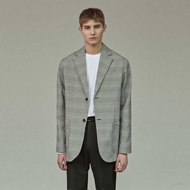 [에이글로우] CHECK SINGLE BLAZER_GRAY