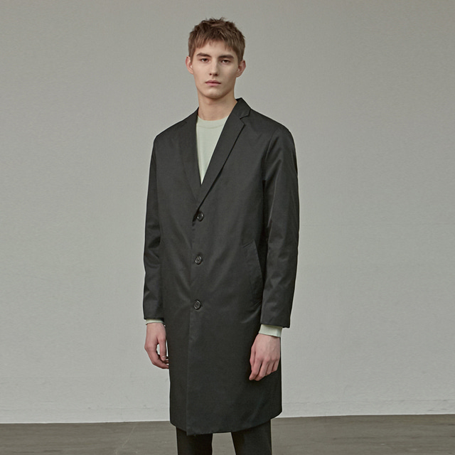 [에이글로우] SOLID COTTON MAC COAT_BLACK