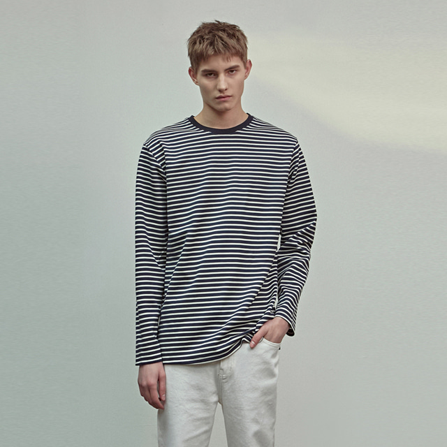 [에이글로우] STANDARD STRIPE LONG SLEEVE_NAVY