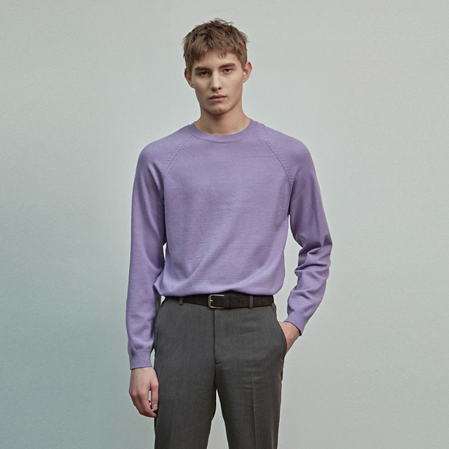 [에이글로우] BASIC ROUND KNIT_PURPLE