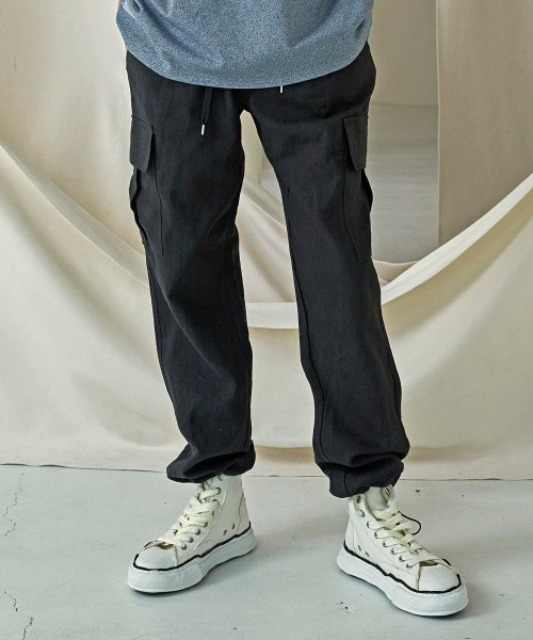 [프리즘웍스] LINEN CARGO STRING PANTS _ BLACK