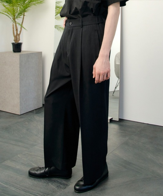[노운]half banding wide pants (black)