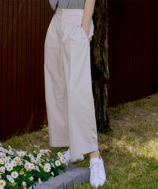 [노운]wide cuffed pants (light gray)