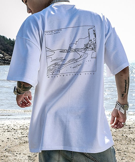 [에이클라운] BATHING FRAME HALF-TEE_WHITE