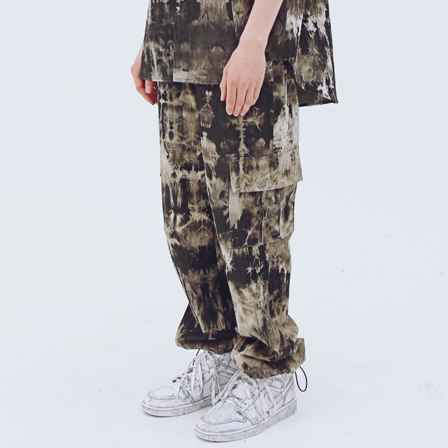[어패럴싯] UNISEX WASHING STRING CARGO PANTS BLACK