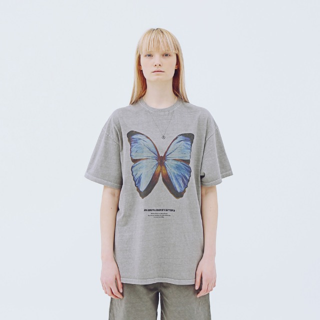 [어패럴싯] UNISEX BUTTER FLY T-SHIRTS GREY
