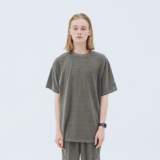 [어패럴싯] UNISEX STRIPE WASHING T-SHIRTS CHARCOAL