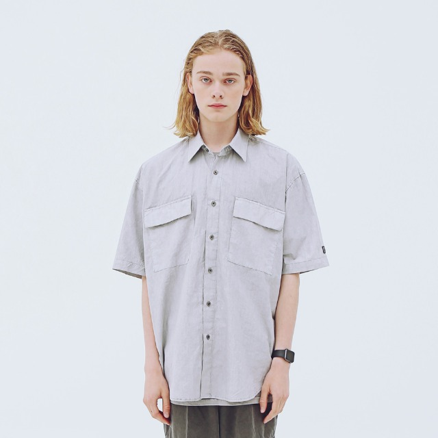 [어패럴싯] UNISEX PIGMENT TWO POCKET SHIRTS GREY