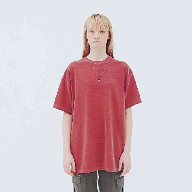 [어패럴싯] UNISEX STRIPE WASHING T-SHIRTS RED
