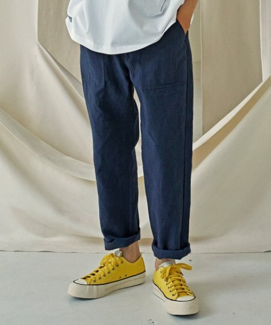 [프리즘웍스]  LINEN FATIGUE PANTS _ NAVY