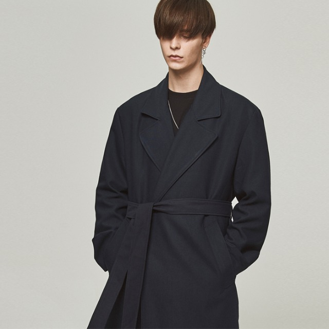 [단하우스] DARK NAVY Oversized Robe Coat